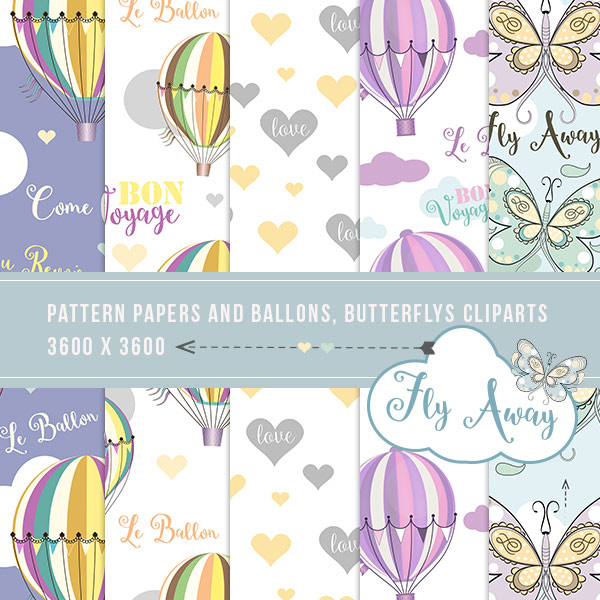 Fly Away papers & cliparts ballons and Butterflys (FS/CU)