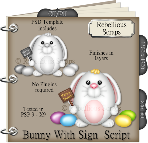 Bunny With Sign (FS/CU4CU/TEMPLATE/SCRIPT)