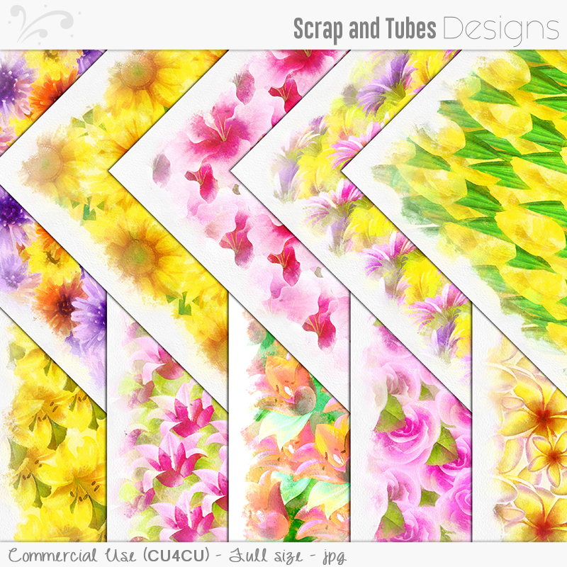 Aquarell Flower Papers (FS/CU4CU)