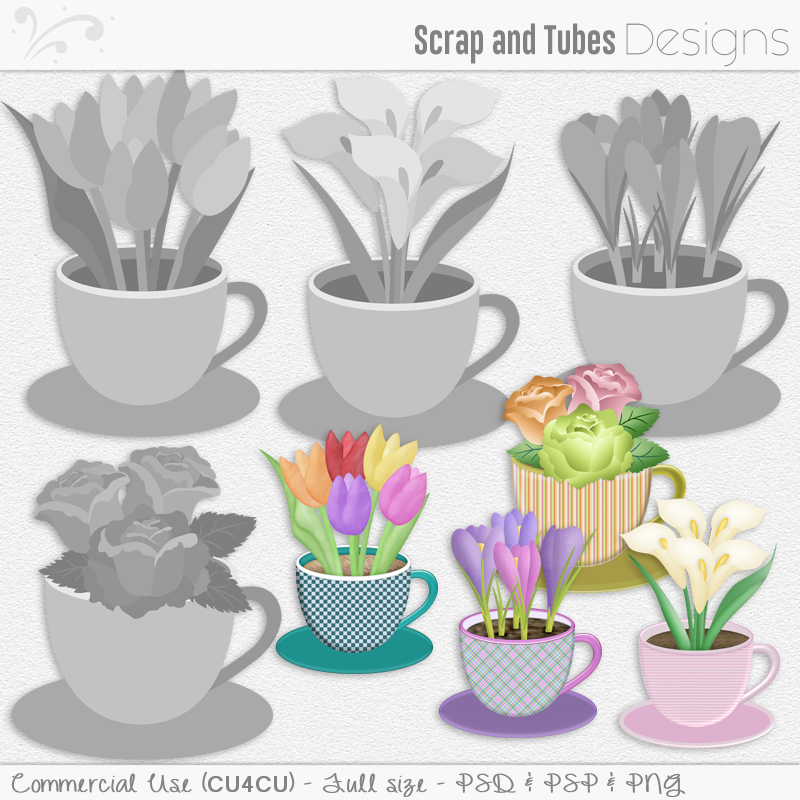 Flowers In Cup 2-Templates (FS/CU4CU)