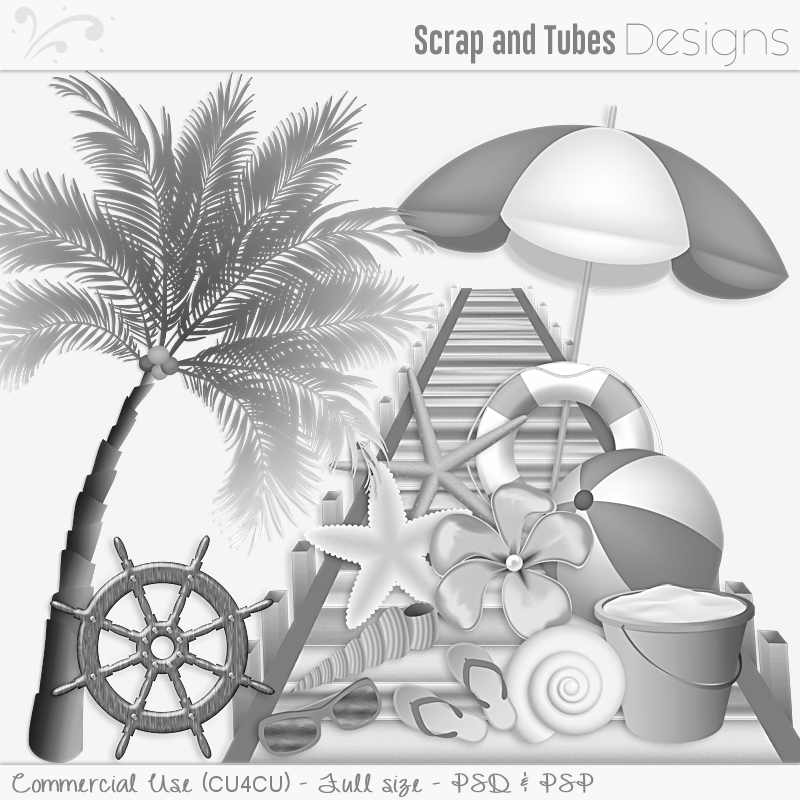 Grayscale Beach Templates and Elements (FS/CU4CU)