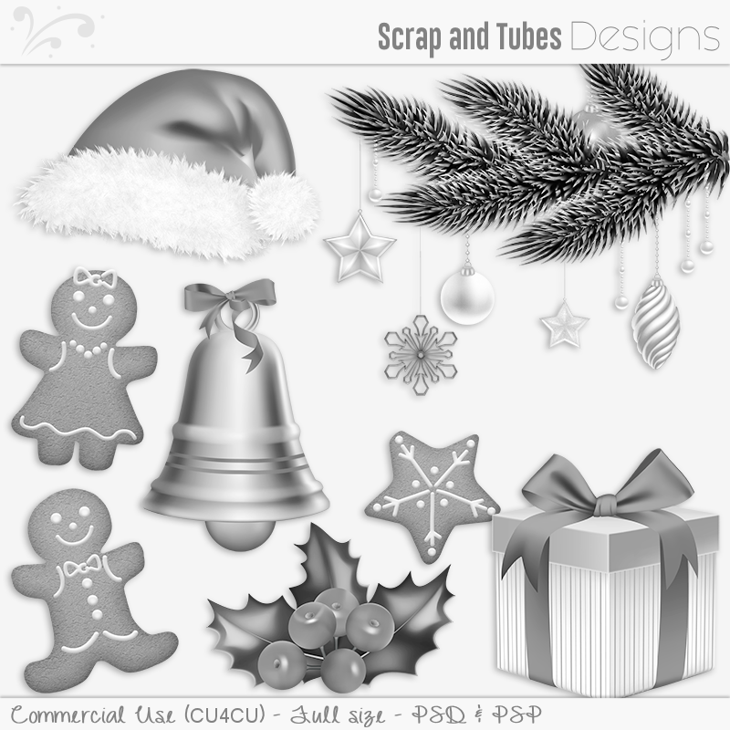 Happy Holidays Grayscaled Templates 2 (FS/CU4CU)