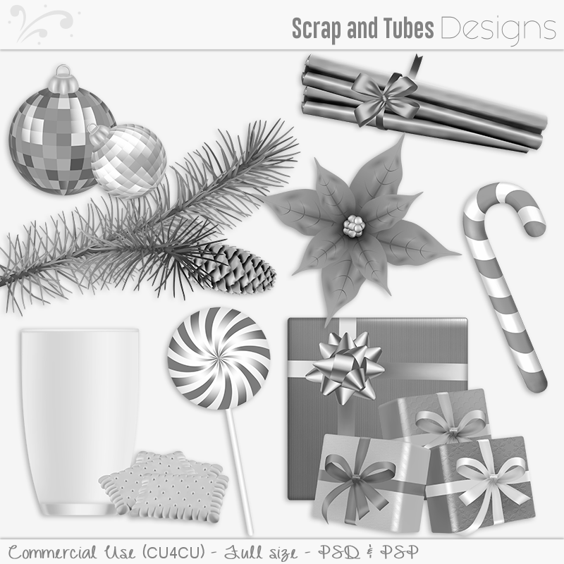 Happy Holidays Grayscaled Templates 3 (FS/CU4CU)