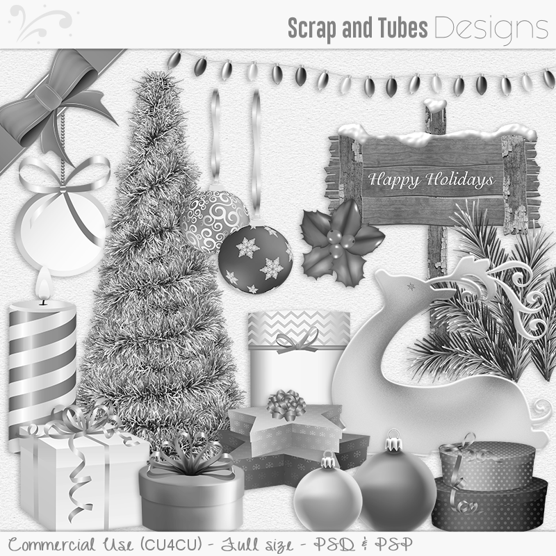 Happy Holidays Grayscale Templates (FS/CU4CU)