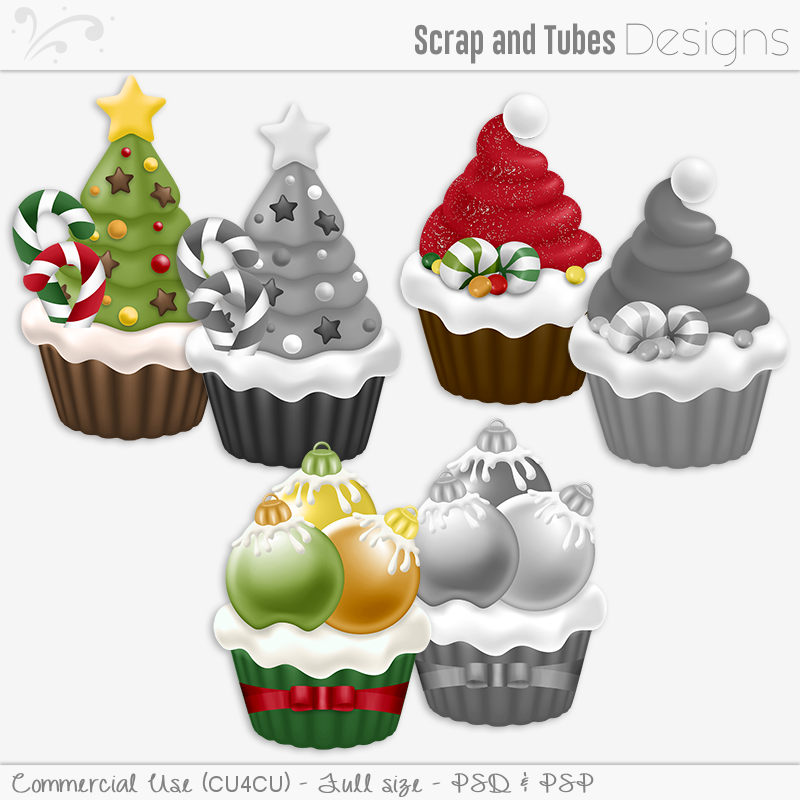 Holiday Cupcakes Grayscaled Templates (FS/CU4CU)