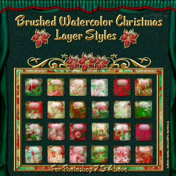 Brushed Watercolor Christmas PS Styles (CU)