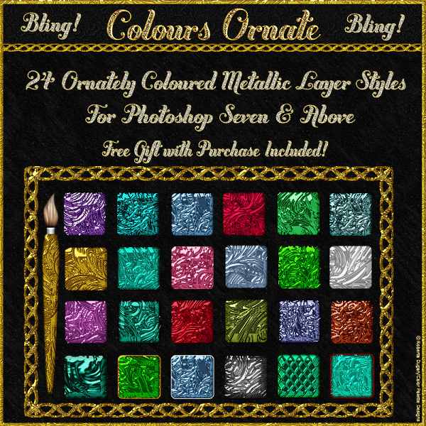 BLING! Colours Ornate PS Layer Styles w/Free Goodies (CU)