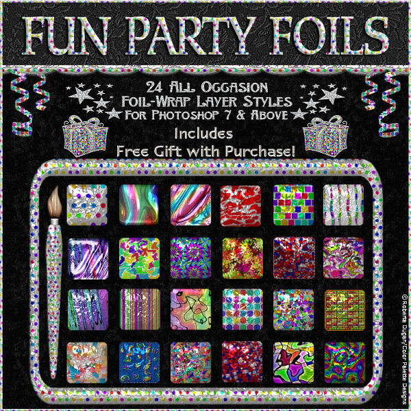 """Fun Party Foils"" PS Layer Styles w/Free Gift Border (CU)"