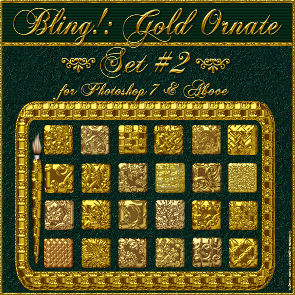 Bling! GOLD ORNATE Set#02 PS Styles w/Free Gift (CU)