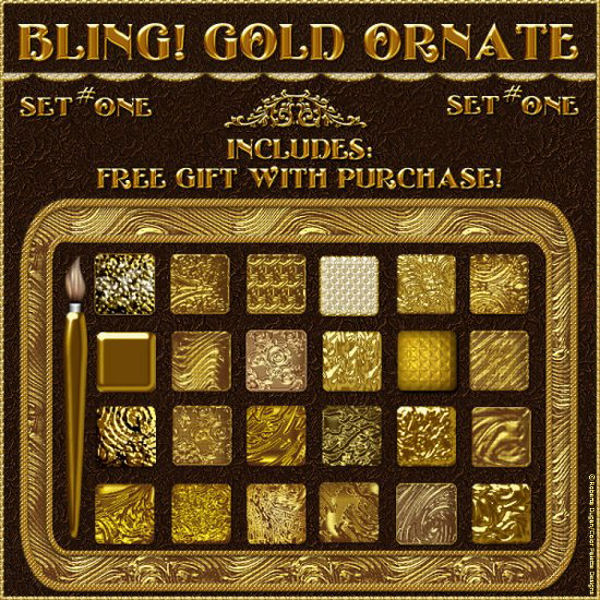 Bling! GOLD ORNATE PS Layer Styles w/Free Gift (CU)