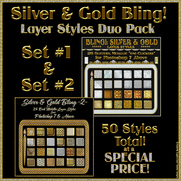 SILVER and GOLD BLING PS Layer Styles DUO PACK (CU4CU)