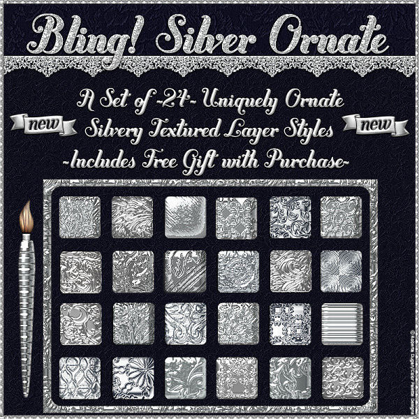 BLING! Silver Ornate PS Layer Styles w/Gifts (CU)